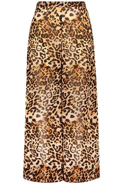 Brown Plus Beach Leopard Print Trouser
