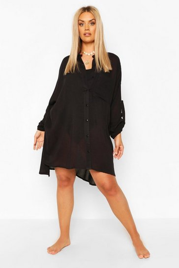 Black Plus Cheesecloth Beach Shirt