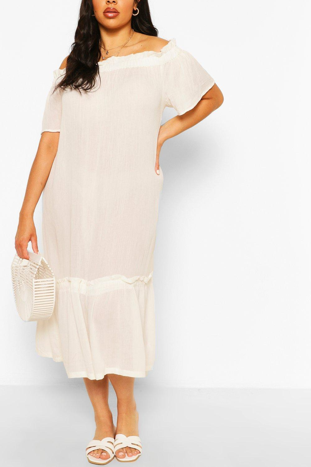Plus Cheesecloth Ruffle Detail Midaxi Dress 3