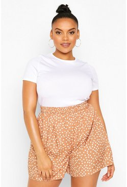 Mocha beige Plus Polka Dot Flippy Short