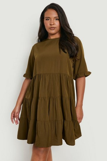 Khaki Plus Woven Smock Dress