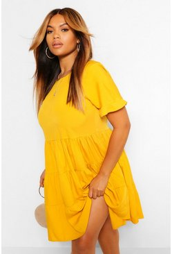 Mustard yellow Plus Woven Smock Dress