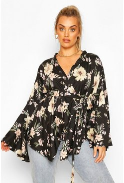 Black Plus Extreme Wide Sleeve Wrap Top
