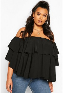 Black Plus Off The Shoulder Ruffle Peplum Top