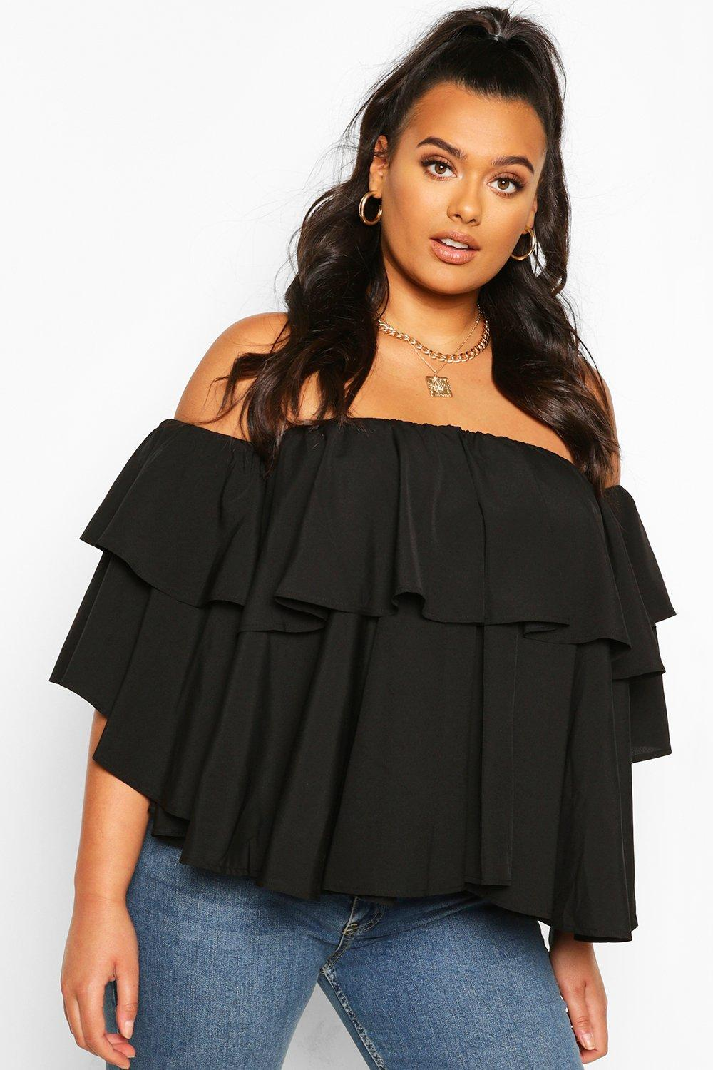 Plus Off The Shoulder Ruffle Peplum Top 7