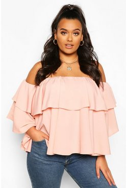Blush pink Plus Off The Shoulder Ruffle Peplum Top