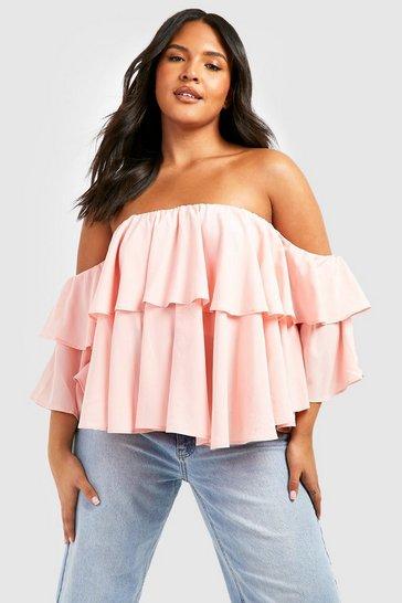 Blush pink Nude Plus Off The Shoulder Ruffle Peplum Top