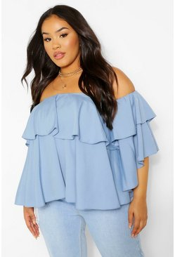 Sky blue Plus Off The Shoulder Ruffle Peplum Top