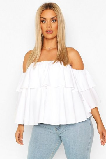 White Plus Off The Shoulder Ruffle Peplum Top