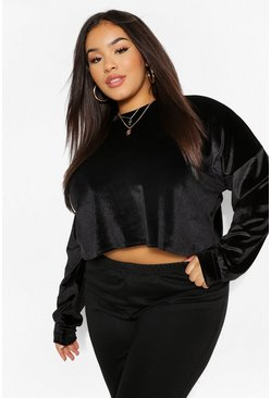 Black Velour Slouchy Crop Top