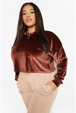 Chocolate brown Velour Slouchy Crop Top