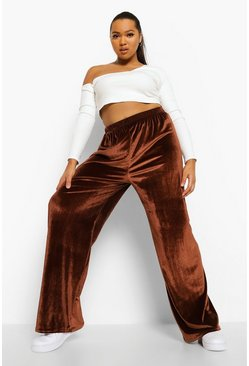 Chocolate brown Velour Wide Leg Joggers