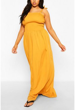 Mustard Plus Woven Shirred Maxi Dress