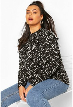 Black Plus Smudge Print Ruffle Smock Top