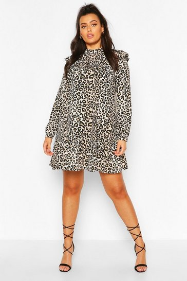 Brown Plus Woven Leopard Smock Dress