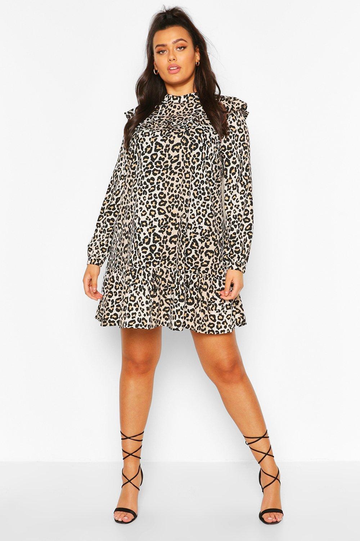 Plus Woven Leopard Smock Dress 8