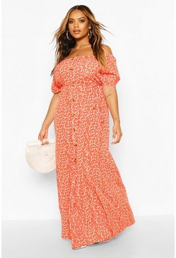 Orange Plus Ditsy Floral Maxi Dress