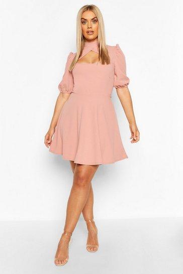Blush pink Plus Choker Cut Off Puff Sleeve Peplum Dress