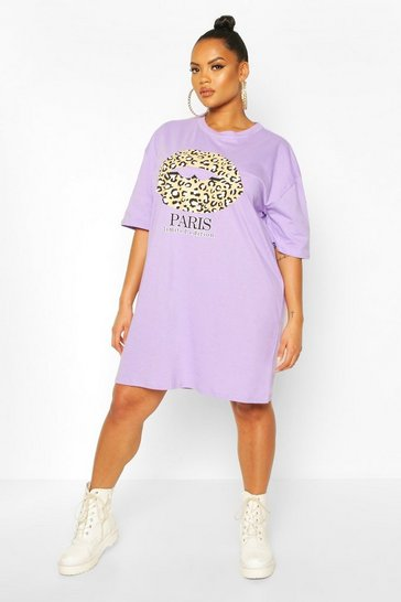 Lilac purple Plus Paris Slogan T-Shirt Dress