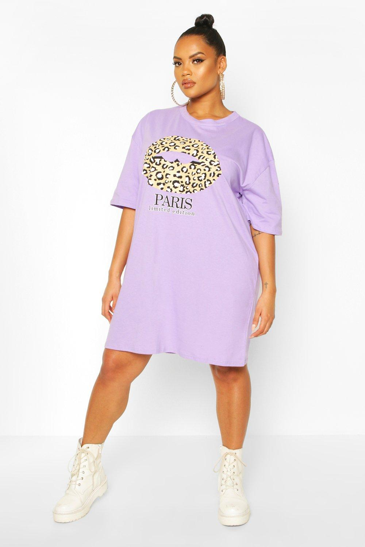 Plus Paris Slogan T-Shirt Dress 7