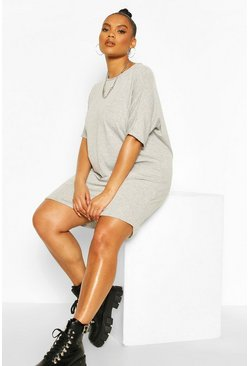 Grey Plus Oversized T-Shirt Dress