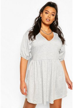 Grey Plus Puff Sleeve Smock Dress