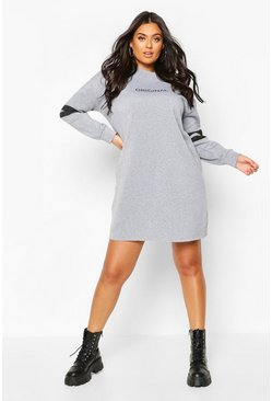 Grey Plus Stripe Sleeve Slogan Sweat Dress