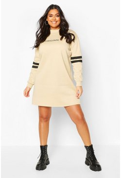 Stone beige Plus Stripe Sleeve Slogan Sweat Dress