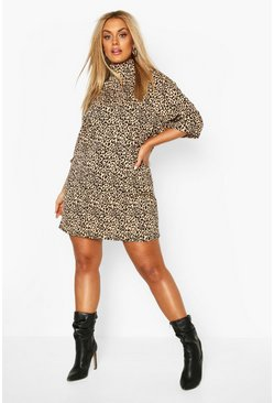 Brown Plus Rib Leopard Shift Dress