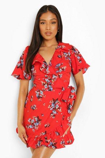 Red Petite Floral Ruffle Tea Dress