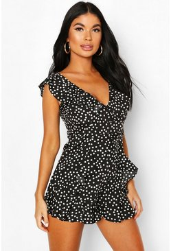 Black Petite Polka Dot Ruffle Playsuit