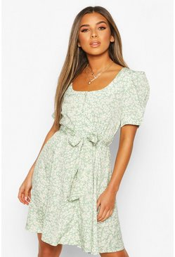 Sage green Petite Ditsy Floral Button Puff Sleeve Mini Dress