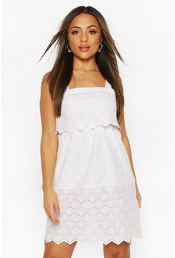 White Petite Broderie Sun Dress