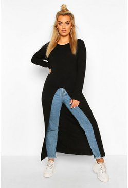 Black Plus Front Split Maxi Top