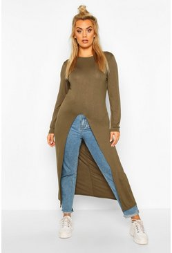 Khaki Plus Front Split Maxi Top