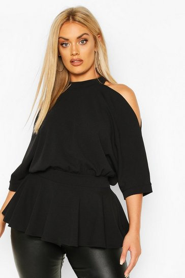 Black Plus Batwing Sleeve Peplum Top