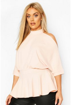 Blush pink Plus Batwing Sleeve Peplum Top