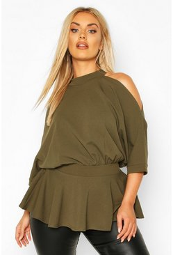 Khaki Plus Batwing Sleeve Peplum Top