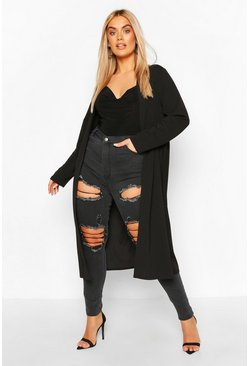 Black Plus Ruched Belted Duster Coat