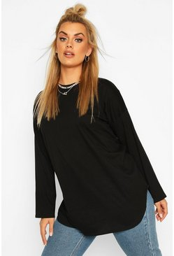 Zwart black Plus Katoenen Oversized T-shirt met Ronde Zoom