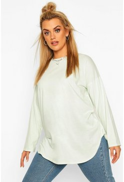 Sage green Plus Cotton Oversized Curve Hem T-shirt