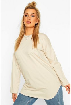 Stone beige Plus Cotton Oversized Curve Hem T-shirt