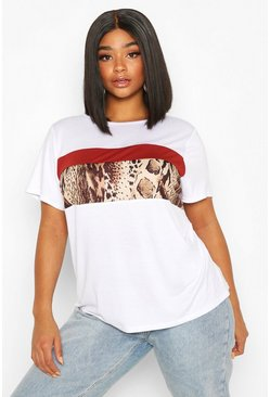 White Plus Animal Colour Block T-shirt