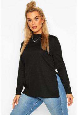 Black Plus Split Hem Tunic Top