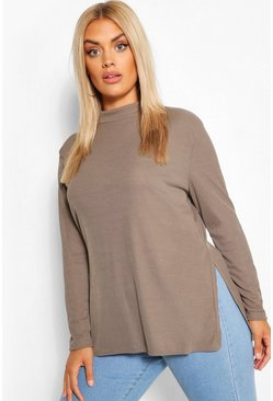 Khaki Plus Split Hem Tunic Top