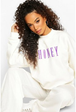 Ivory white Petite Honey Slogan Embroidered Sweat
