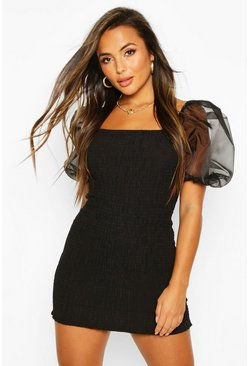 Black Petite Organza Sleeve Mini Dress