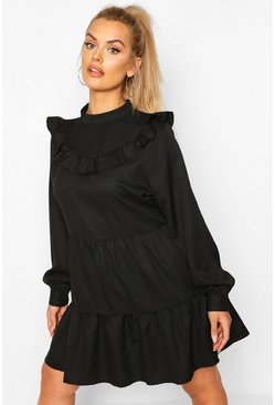 Black Plus High Neck Ruffle Tiered Smock Dress