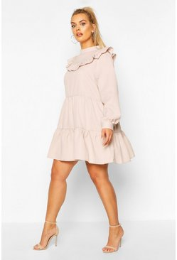 Stone beige Plus High Neck Ruffle Tiered Smock Dress