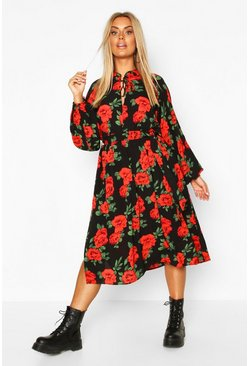 Black Plus Floral Ruffle High Neck Midi Dress